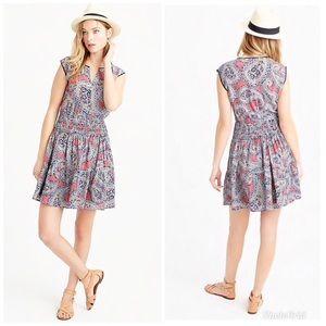 J. Crew Silk Smocked-waist Dress in Paisley Sz 2😍